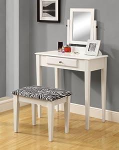 Monarch Specialties 2-Piece Vanity Set with a Zebra Fabric Stool, White