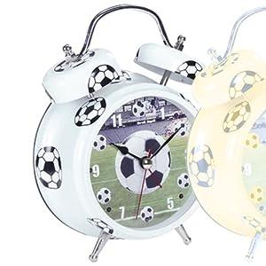*ATLANTA* - Quarz-Fußballwecker - weiß - blinkendes LED bei Ertönen des Wecksignals mit Melodie