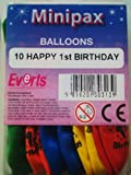 balloons - multi-coloured happy 1st birthday - pk x10