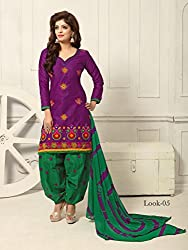 ARAJA GOOD LOOKING NEW DESIGNER PURPLE&GREEN COTTON HAND DORA EMBROIDERED UNSTICHED FESTIVAL AND OTHER SEASON WEAR PATIYALA DRESS MATERIAL