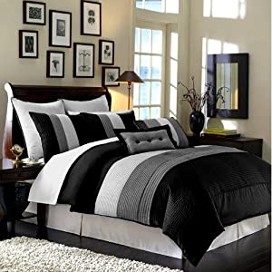 Chezmoi Collection 90 x 92-Inch 8-Piece Luxury Stripe Comforter Bed-in-a-Bag Set, Queen, Black/White/Grey