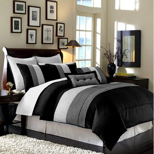"Buy Cheap 8 Pieces Black White Grey Luxury Stripe Comforter (86""x88"") Bed-in-a-bag Set Ful..."