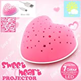 "Lumitusi ""Micro USB + Solar Rechargeable, Easy Clean"" Heart Projection Night Light (Pink)"