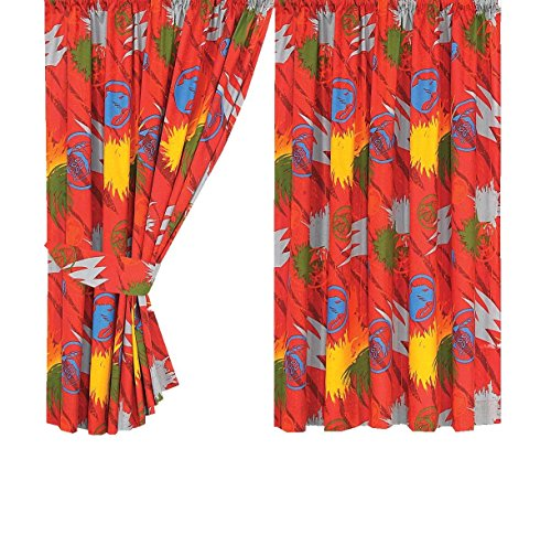 Power Rangers Character World Fury Curtains With Tie Backs, 72 Inch Orange (Power Ranger Bedroom Decor compare prices)