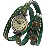 AMPM24 Vintage Green Leather Girl Lady Women Slim Wrap Long Bracelet Quartz Watch Gift