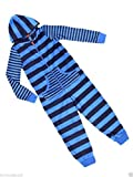 Boys Ex M&S Navy Blue Stripe All in One Onesie Sleeper - New - Age 5-6,6-7,7-8,9-10,11-12 Years
