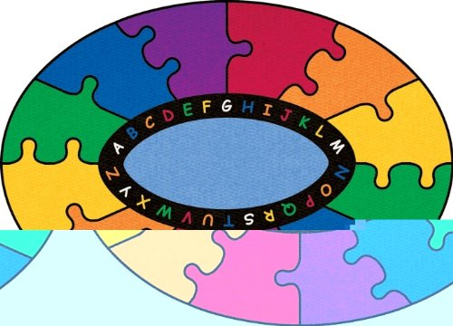 Learning Carpets ABC Rainbow Puzzle Rug - Oval Small
