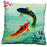 A Pair of Koi Fish 3D Stamped Cross Stitch Cushion