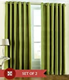 "Home Candy Eyelet Fancy Polyester 2 Piece Door Curtain Set - 84""x48"", Green (SOE-CUR-118_118)"