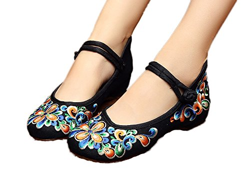 AvaCostume Women's Chinese Embroidery Casual Mary Jane Travel Walking Shoes Black 39