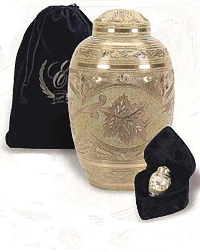 The Severn Cremation Urn. A Hand Engraved Cremation Urn Manufactured From Solid Brass With Cream Wash Finish. 3