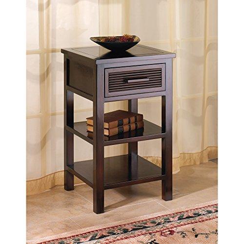 Modern Dark Brown Espresso Wood Drawer Shelf Nightstand