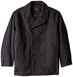 London Fog Men\'s Big Austin Double Breasted Wool Pea Coat, New Charcoal, 3X/Big