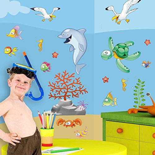 LeoStickers® - LeoKit start Tra le Onde: stickers murali bambini. Set di 18 adesivi murali per camerette a tema mare: pesci, pesciolini, tartarughe, delfini, granchi, stelle marine. Trasforma la cameretta dei tuoi bambini in un bellissimo fondale marino!