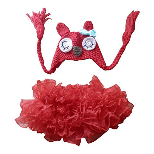 Jastore® Photography Prop Baby Infant Red Owl Costume TuTu Dress Cap