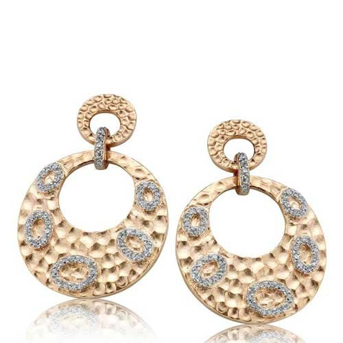 C.Z. Round Hammered Drop Fashion Rose Plated (.925) S/S Earrings (Nice Holiday Gift, Special Black Firday Sale)