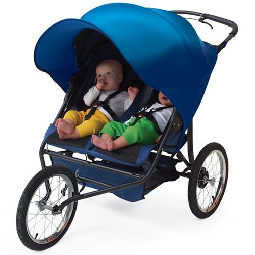 Kiddopotamus Rayshade Uv Protective Double Stroller Shade For Twin Strollers & Joggers, Navy back-211908