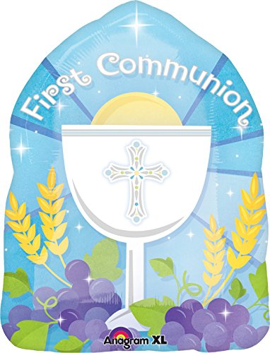 "Anagram International Blessed 1st Communion Blue Balloon, 18"", Multicolor"