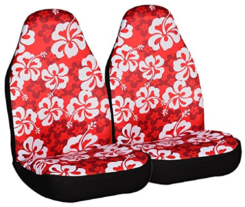 Allison 67-0346RED Red Hawaiian Print Universal Bucket Seat Cover - Pack of 2 (Seat Cover Allison compare prices)