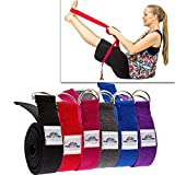 Thick Yoga Strap / Yoga Belt with Steel D Ring (8FT long). Perfect for stretching and all types of yoga including Pregnancy Yoga, Hot Yoga, Bikram Yoga, Restorative Yoga, Hatha Yoga and many more. Made with 100% Durable Cotton. Comes with a Lifetime Warranty and a 90 Day Money Back Guarantee + 1 Tree planted with every purchase. - By FiveFourTen