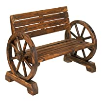 Big Sale Rustic Wood Design Home Garden Wagon Wheel Bench Decor