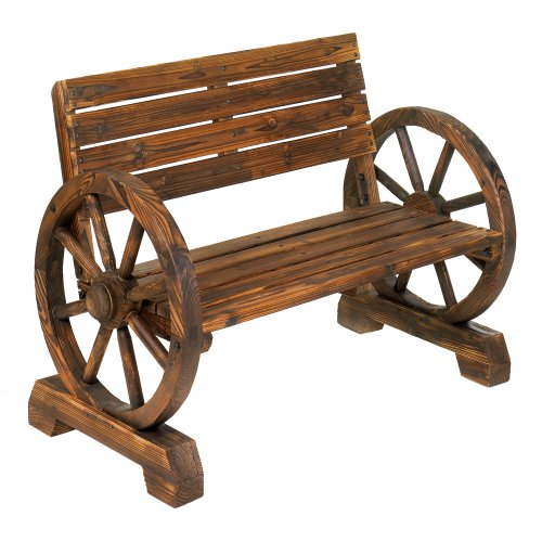 Rustic Wood Design Home Garden Wagon Wheel Bench Decor