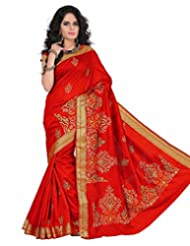 Roopkala Red Raw Silk Embroidery Saree