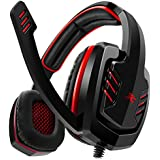 Sentey® Gaming Headset Red Arrow Analog 3.5mm In-line Volume Control & Computer Headset with Microphone Gaming Headphones Headphone Pc, Mac or Laptop, Tablet, Mobile Phones / Headset with Mic Heavy Duty Braided 2 Meters Cable / Leather Padded Ear Pads with Passive Noise Canceling / Computer Gaming Headset Ergonomic Adaptive Leather Headband (Extreme Comfort) - Best Gaming Headset Stereo Left and Right Drivers 40mm / Cap Connector / Computer Headset to Work and Play / Skype Headset - Gaming Headsets for Chat and Play Gs-4521