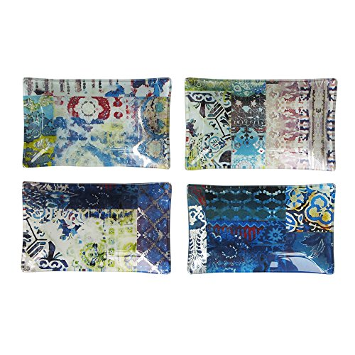 Tracy Porter Rectangular Trays (Set of 4), Blue (Glass Dinner Tray compare prices)