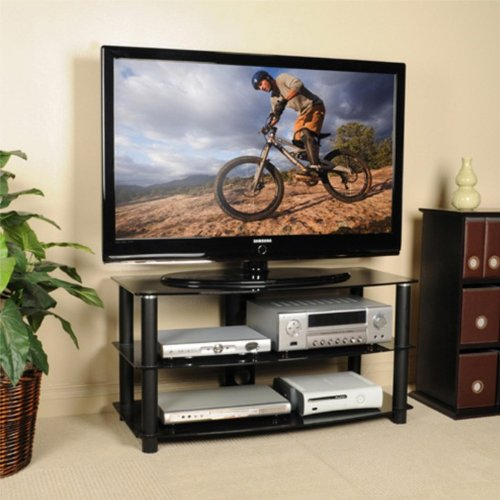 Cheap Flat Panel LCD TV Stand with Tempered Glass Shelves in Black Finish (AZ00-49027×21152)
