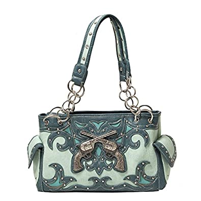 Cowgirl Bling Purse with Crossed Double Guns & Concealed Carry Gun Pocket