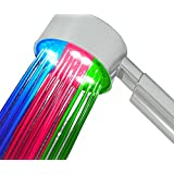 Incutex LED Duschkopf Wellnessbrause Brausekopf färbt sich je nach Temperatur in Blau Rot Grün