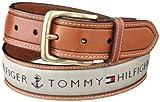 Tommy Hilfiger Mens Ribbon Inlay Belt,Khaki,38