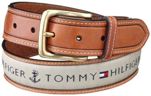 Tommy Hilfiger Ribbon Inlay 经典男式双拼真皮皮带