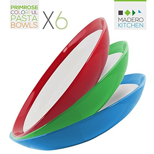 Primrose Colorful Pasta Bowls by Madero Kitchen - Set of 6 PREMIUM Ceramic Pasta Bowls - 9.3 Inches - 100% Secure Packaging - BEAUTIFUL round DESIGN and 6 DIFFERENT COLOURS! ... (Pasta Plates And Bowls Set compare prices)
