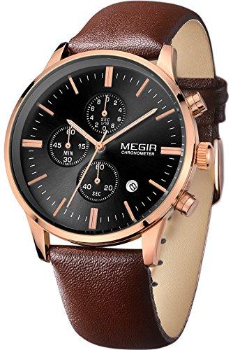 Megir Mens Vintage Chronograph Luminous Brown Leather Quartz Wrist Watches 0