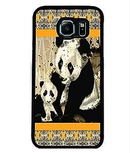 PRINTVISA Baby Panda with mom Premium Metallic Insert Back Case Cover for Samsung Galaxy S6 - D5889