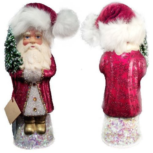 Ino Schaller Paper Mache Santa in Soft Hat Christmas Candy Container