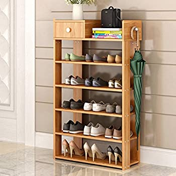 DULPLAY 100% Solid Wood Shoe Rack,Bamboo,Flower Stand Bookshelf Function Assemble Entryway Shelf Stand Shelves Stackable Entryway Bedroom-G 60x24x95cm(24x9x37inch)