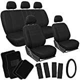 OxGord 21pc Solid Black Flat Cloth Seat Cover and Carpet Floor Mat Set for the Hyundai Elantra Coupe, Airbag Compatible, Split Bench, Steering Wheel Cover Included