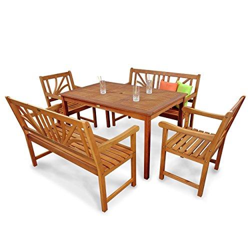 indoba-IND-70105-LOSE5GB2-Serie-Lotus-Gartenmbel-Set-5-teilig-aus-Holz-FSC-zertifiziert-2-Gartensthle-2-Gartenbnke-rechteckiger-Gartentisch-mit-Schirmffnung