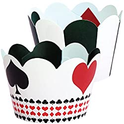 Vegas Casino Cupcake Wrappers Poker Party Supplies, Black and White Striped, Confetti Couture Party Supplies, 36 Wraps