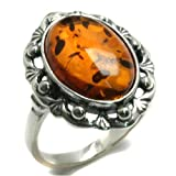 Certified Genuine Honey Amber and Sterling Silver Classic Ring Sizes 5,6,7,8,9,10,11,12