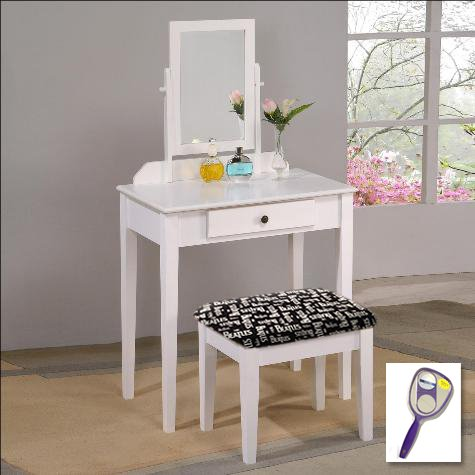 New White Finish Make Up Vanity Table with Mirror & Beatles Black & White Logo Themed Bench