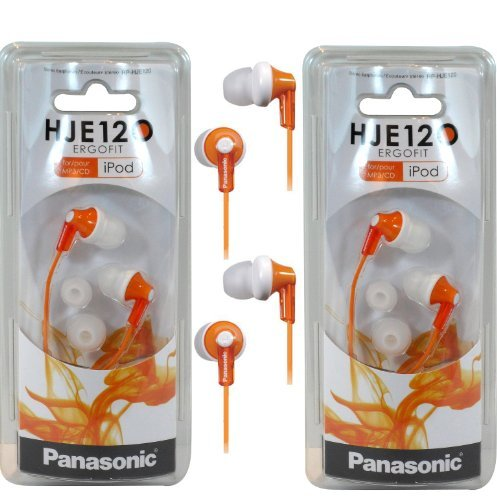 Panasonic Rp-Hje120 Ergofit In-Ear Headphones Stereo Earbuds (2-Pack, Orange)