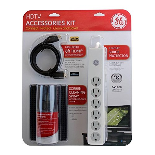 Ge Hdtv Accessories Kit 3 In 1(Hdmi/Screen Cleaning Spray/Surge Protector)