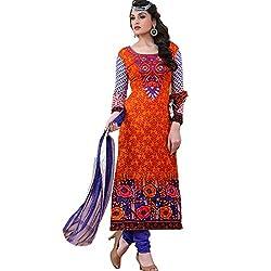 Rozdeal Women Georgette Printed Unstitched Long Sleeve Orange Anarkali Suit