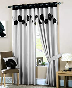 Poppy Curtains Luxury Heavy Eyelet Ring Top Ready Made Lined Curtain Black Grey Silver