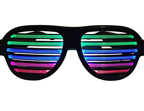 FLYMEI® LED Light Up Shades Sound and Music Reactive Party Glasses Slotted Sunglasses Eyewear for Clubbing, Rave, Birthday, Disco and Dubstep Party