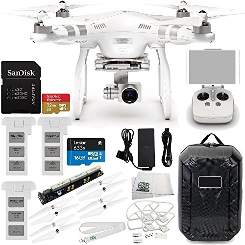 DJI Phantom 3 Advanced Quadcopter Drone with 1080p HD Video Camera & Manufacturer Accessories + 2 Extra DJI Intelligent Flight Batteries + Water-Resistant Hardshell Backpack + MORE